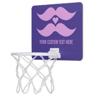 Pink Mustaches custom mini hoop