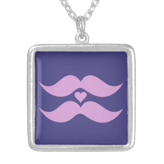 Pink Mustaches custom necklace