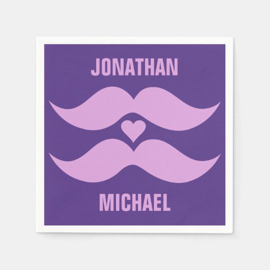 Pink Mustaches custom paper napkins