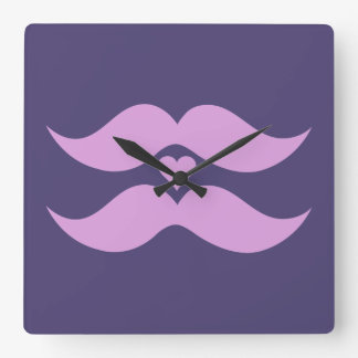 Pink Mustaches custom wall clock