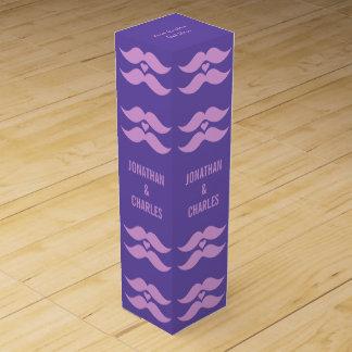 Pink Mustaches custom wine gift box