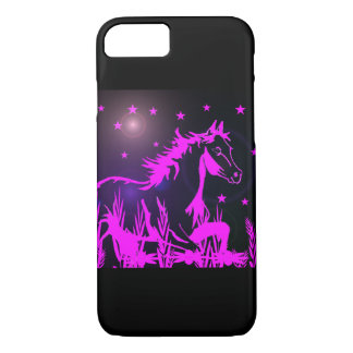 Pink mustang on black background iPhone 7 case