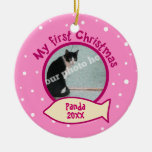 Pink My First Christmas Personalised Photo Cat