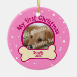 Pink My First Christmas Personalised Photo Dog