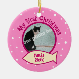 Pink My First Christmas Personalized Photo Cat Christmas Ornament
