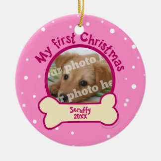 Pink My First Christmas Personalized Photo Dog Christmas Ornament