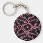 Pink mystery Gothic monogram M Basic Round Button Key Ring