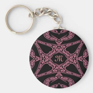 Pink mystery Gothic monogram M Key Ring
