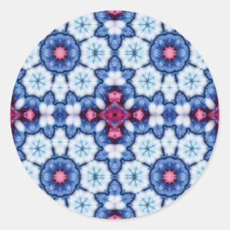 pink n blue kaleidoscope round sticker
