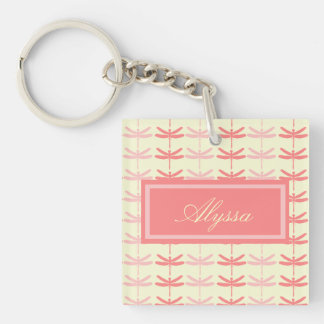 Pink-n-Coral Dragonflies Double-Sided Square Acrylic Key Ring