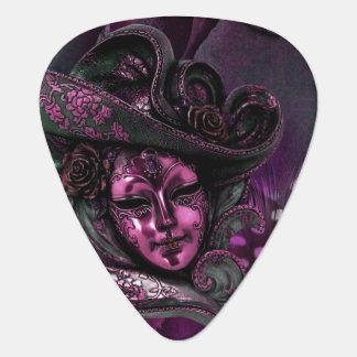 Pink N Gray Masquerade Carnival Mask Guitar Pick