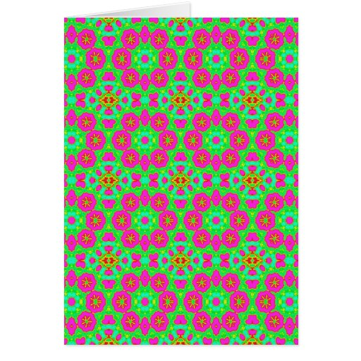 pink n green kaleidoscope greeting card