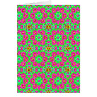 pink n green kaleidoscope greeting card