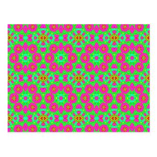 pink n green kaleidoscope postcard