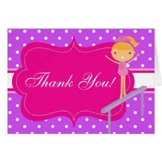 Pink n Purple Polka Dot Birthday Party Thank You Card