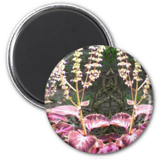 Pink n Silver Floral TEMPLATE 6 Cm Round Magnet