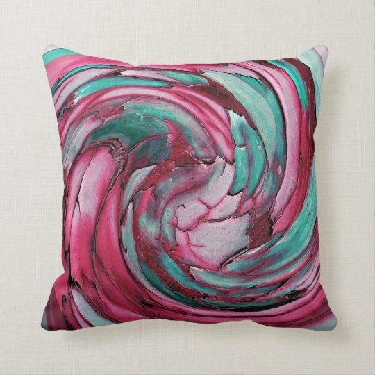 Pink N Teal Abstract Art Throw Pillow