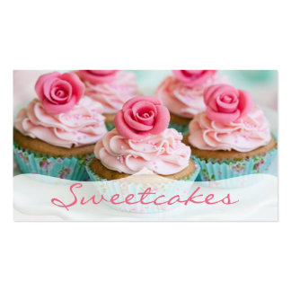 Pink n' Teal Rose Cupcake Bakery Pack Of Standard Business Cards
