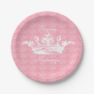 Pink-n-White Vintage Princess Crown Personalize It Paper Plate