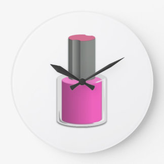 Pink Nail Polish Large Clock