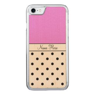 Pink Name, Black Polka Dots Carved iPhone 7 Case