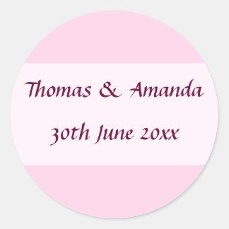 Pink Name & Date Envelope Seal Round Sticker