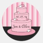 Pink Names Wedding Cake Wedding Sticker