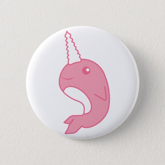 Pink Narwhal 6 Cm Round Badge