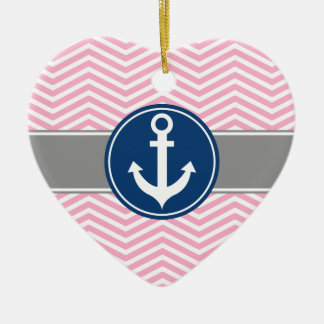 Pink Nautical Anchor Chevron Christmas Ornament