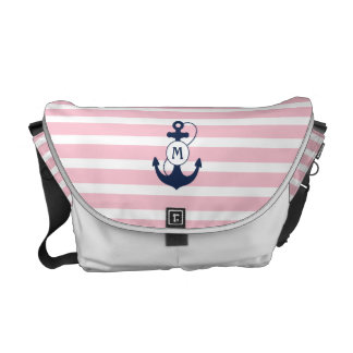 Pink Nautical Anchor Monogram Courier Bags