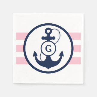 Pink Nautical Anchor Monogram Disposable Napkins
