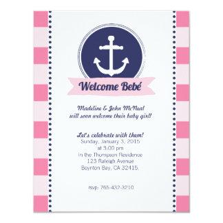 pink nautical BABY SHOWER custom invitation