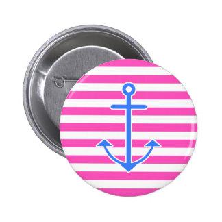 Pink Nautical Blue Anchor Button