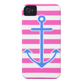 Pink Nautical Blue Anchor iPhone 4 Cases
