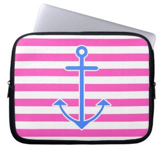 Pink Nautical Blue Anchor Laptop Sleeve