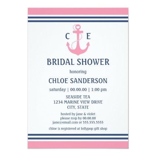 Pink Nautical Bridal Shower Invitations