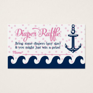 Pink Nautical Diaper Raffle Cards Girl Baby Shower