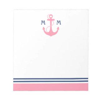 Pink Nautical Heart Anchor Notepad