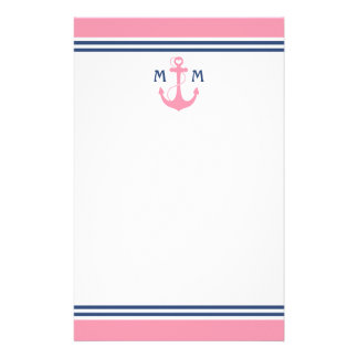Pink Nautical Heart Anchor Stationery