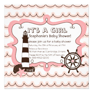 Pink Nautical It s a Girl Baby Shower Invitation