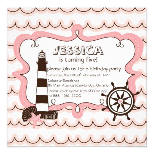 Pink Nautical Lighthouse Birthday Invitation