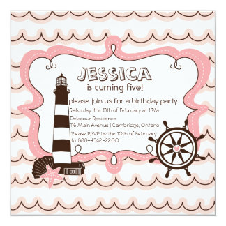 Pink Nautical Lighthouse Birthday Invitation