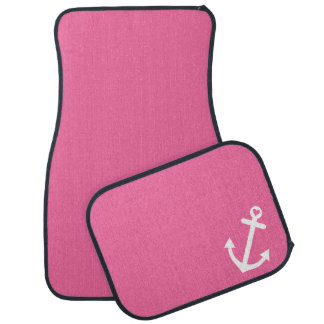 Pink Nautical Love Anchor Car Mat