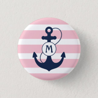 Pink Nautical Stripes with Anchor Monogram 3 Cm Round Badge