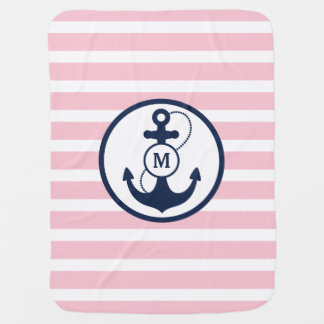 Pink Nautical Stripes with Anchor Monogram Baby Blanket