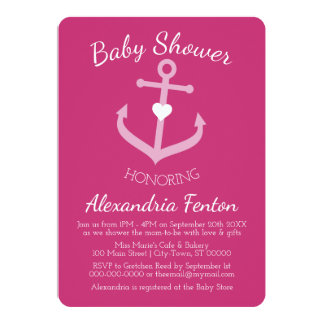 Pink Nautical themed Baby Shower Invitation