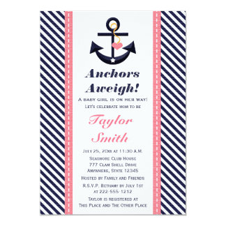 Pink Navy Anchor Nautical Baby Shower Invitations
