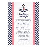 Pink Navy Blue Anchor Nautical Wedding Invitations