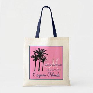 Pink Navy Blue Beach Wedding Palm Trees Canvas Bag
