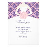Pink Navy Blue Damask Thank You Card Personalised Invitations
